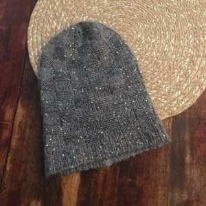 Charming Charlie Grey Knit Sequin slouchy beanie